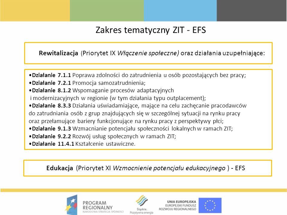 Rewitalizacja ( Priorytet IX Włączenie społeczne) oraz działania uzupełniające: Edukacja (Priorytet XI Wzmocnienie potencjału edukacyjnego ) - EFS Dzi