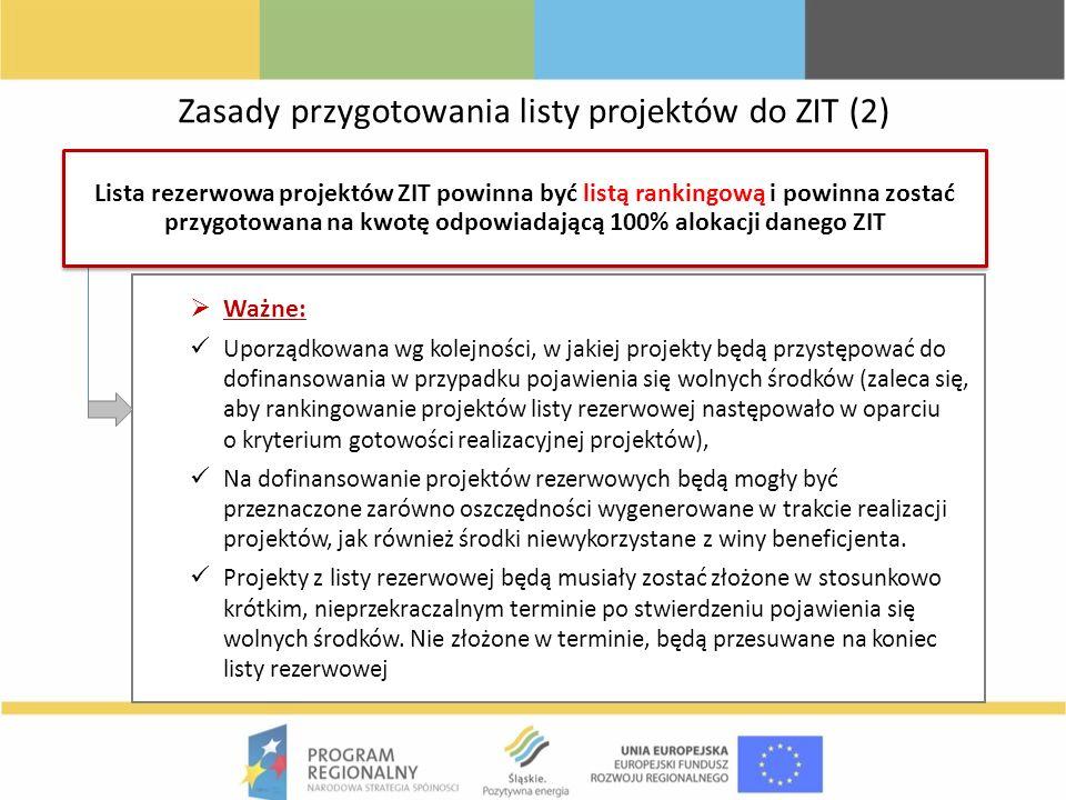 Zasady przygotowania listy projektów do ZIT (2) Ważne: Uporządkowana wg kolejności, w jakiej projekty będą przystępować do dofinansowania w przypadku