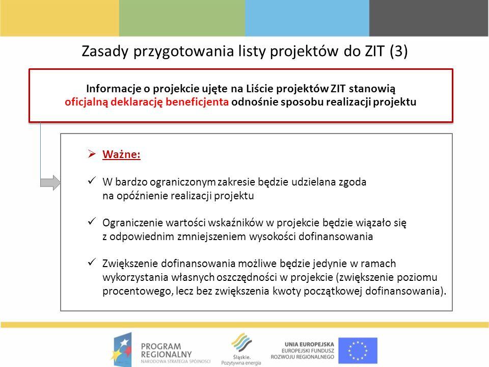 Zasady przygotowania listy projektów do ZIT (3) Informacje o projekcie ujęte na Liście projektów ZIT stanowią oficjalną deklarację beneficjenta odnośn