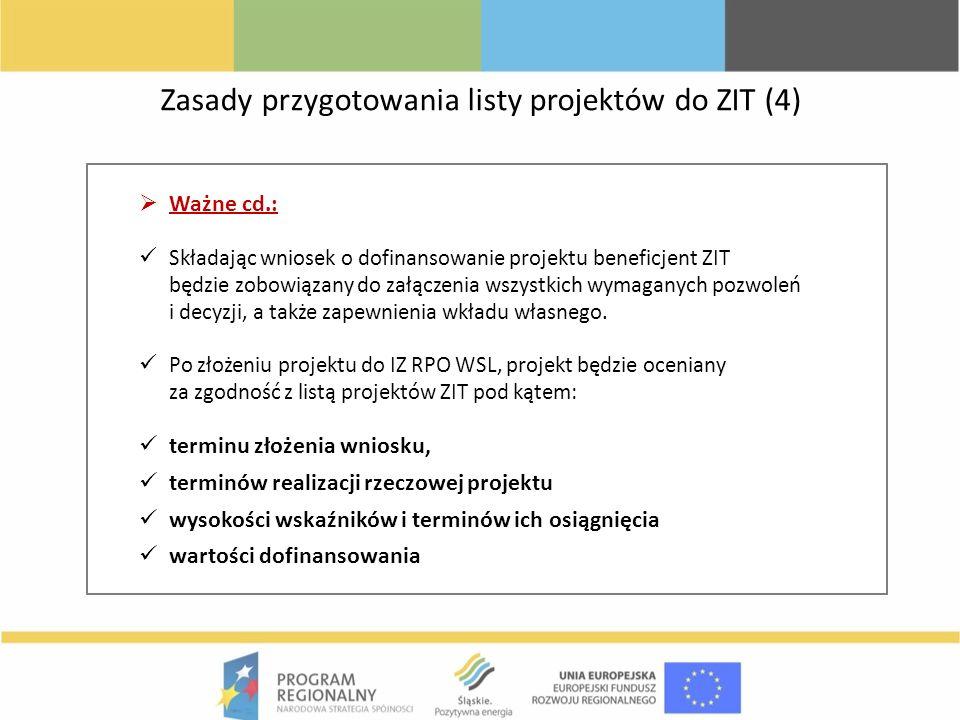 Zasady przygotowania listy projektów do ZIT (4) Ważne cd.: Składając wniosek o dofinansowanie projektu beneficjent ZIT będzie zobowiązany do załączeni