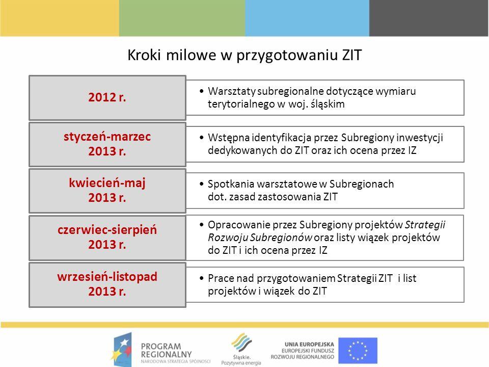 Kroki milowe w przygotowaniu ZIT Warsztaty subregionalne dotyczące wymiaru terytorialnego w woj. śląskim 2012 r. Wstępna identyfikacja przez Subregion