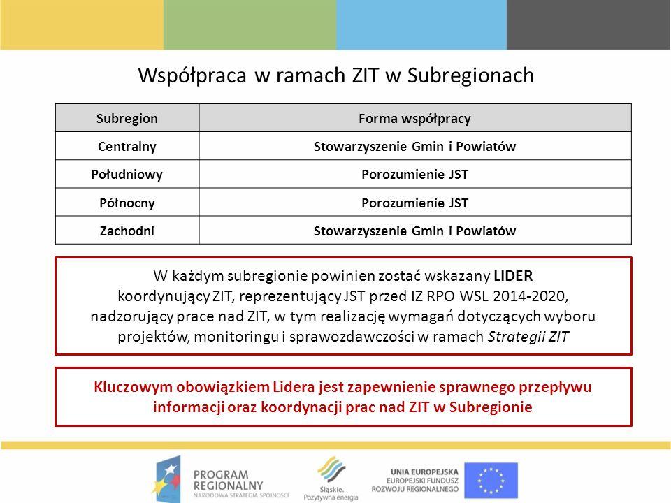 W każdym subregionie powinien zostać wskazany LIDER koordynujący ZIT, reprezentujący JST przed IZ RPO WSL 2014-2020, nadzorujący prace nad ZIT, w tym