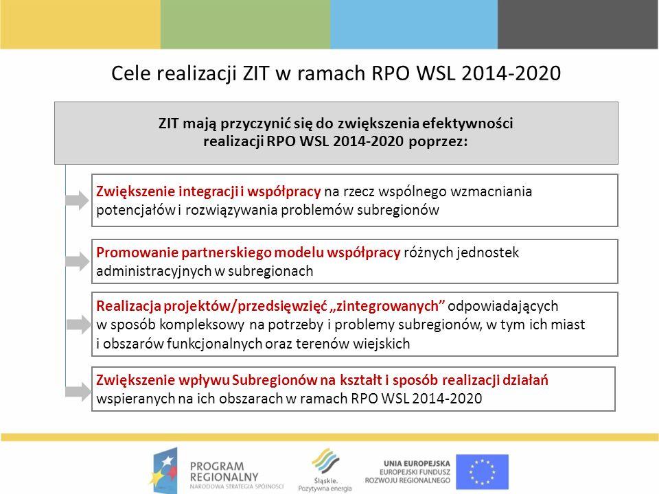 Cele realizacji ZIT w ramach RPO WSL 2014-2020 ZIT mają przyczynić się do zwiększenia efektywności realizacji RPO WSL 2014-2020 poprzez: Zwiększenie i