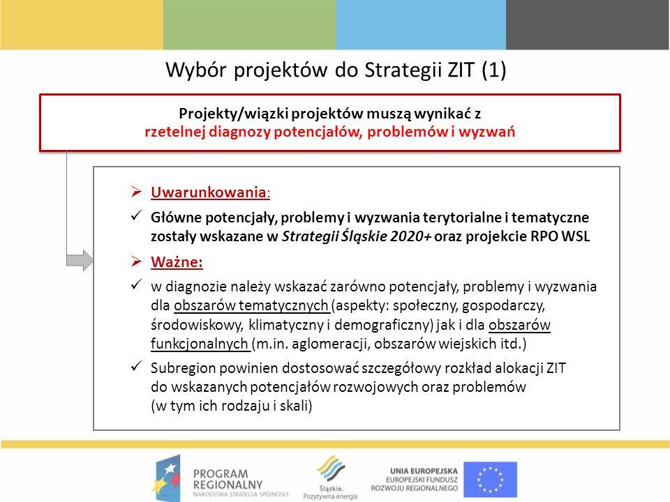 Wybór projektów do Strategii ZIT (1) Projekty/wiązki projektów muszą wynikać z rzetelnej diagnozy potencjałów, problemów i wyzwań Uwarunkowania : Głów