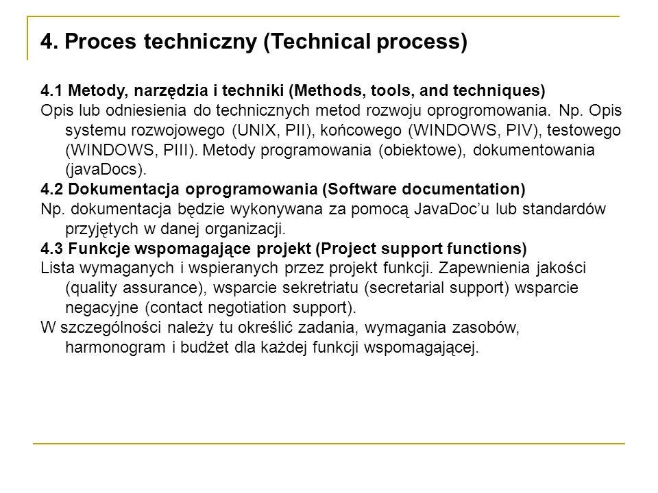 4. Proces techniczny (Technical process) 4.1 Metody, narzędzia i techniki (Methods, tools, and techniques) Opis lub odniesienia do technicznych metod