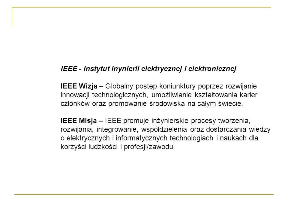 IEEE Organizacja : http://www.ieee.org Techniczne Profesjonalne Zrzeszenie nie czerpiące korzyści z działalności Około 380 000 członków, w 150 krajach Około 300 znaczących konferencji rocznie Około 900 czynnych standardów, w tym 700 rozwijanych