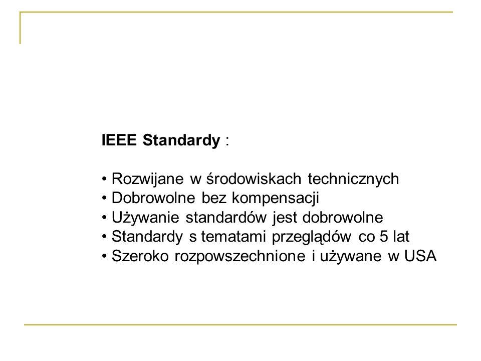 IEEE Standardy : Rozwijane w środowiskach technicznych Dobrowolne bez kompensacji Używanie standardów jest dobrowolne Standardy s tematami przeglądów