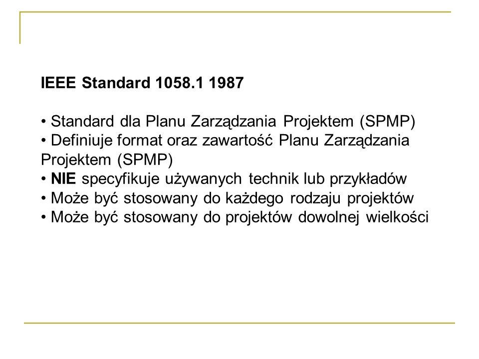 IEEE Standard 1058.1 1987 Standard dla Planu Zarządzania Projektem (SPMP) Definiuje format oraz zawartość Planu Zarządzania Projektem (SPMP) NIE specy