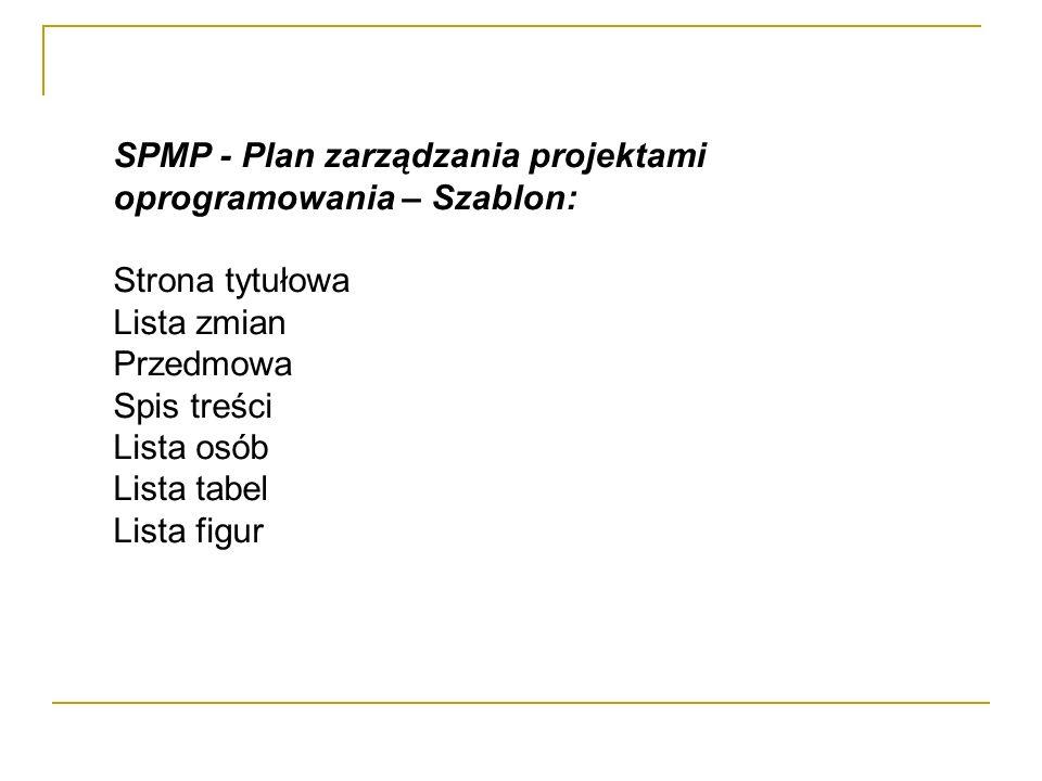 SPMP - Plan zarządzania projektami oprogramowania – Szablon: Strona tytułowa Lista zmian Przedmowa Spis treści Lista osób Lista tabel Lista figur