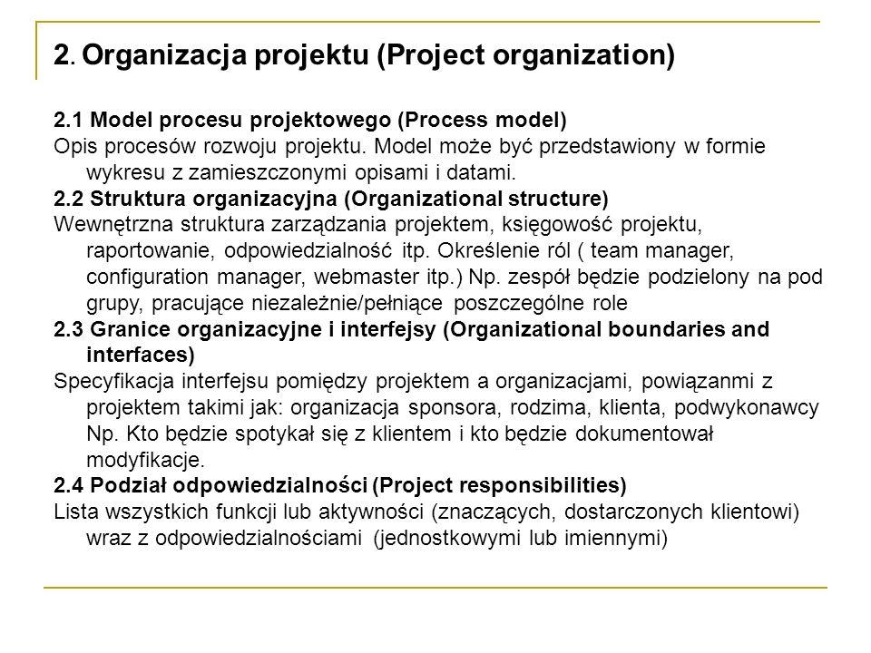 2. Organizacja projektu (Project organization) 2.1 Model procesu projektowego (Process model) Opis procesów rozwoju projektu. Model może być przedstaw