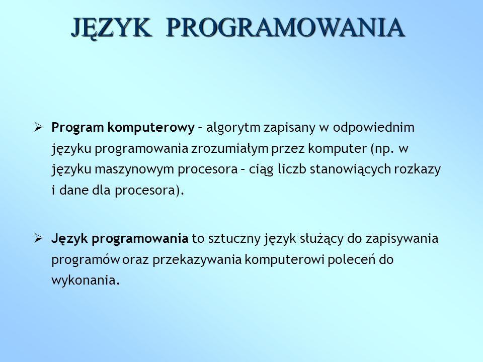 Program komputerowy – algorytm zapisany w odpowiednim języku programowania zrozumiałym przez komputer (np. w języku maszynowym procesora – ciąg liczb