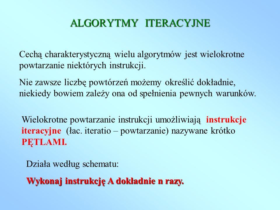 ALGORYTMY ITERACYJNE Cechą charakterystyczną wielu algorytmów jest wielokrotne powtarzanie niektórych instrukcji. Nie zawsze liczbę powtórzeń możemy o