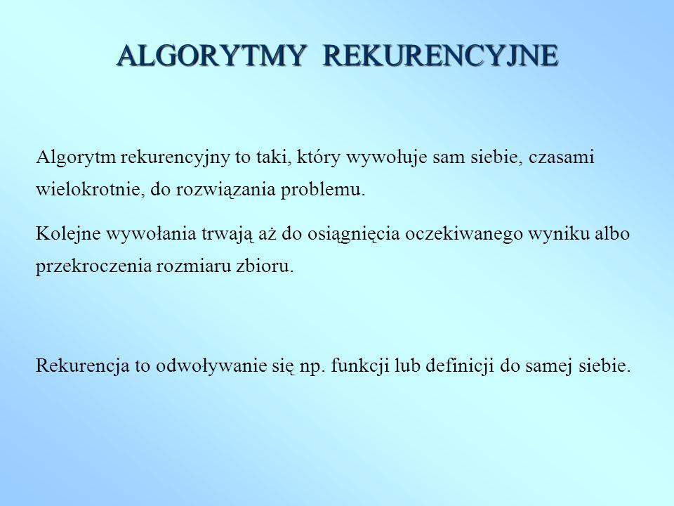 ALGORYTMY REKURENCYJNE Algorytm rekurencyjny to taki, który wywołuje sam siebie, czasami wielokrotnie, do rozwiązania problemu. Kolejne wywołania trwa