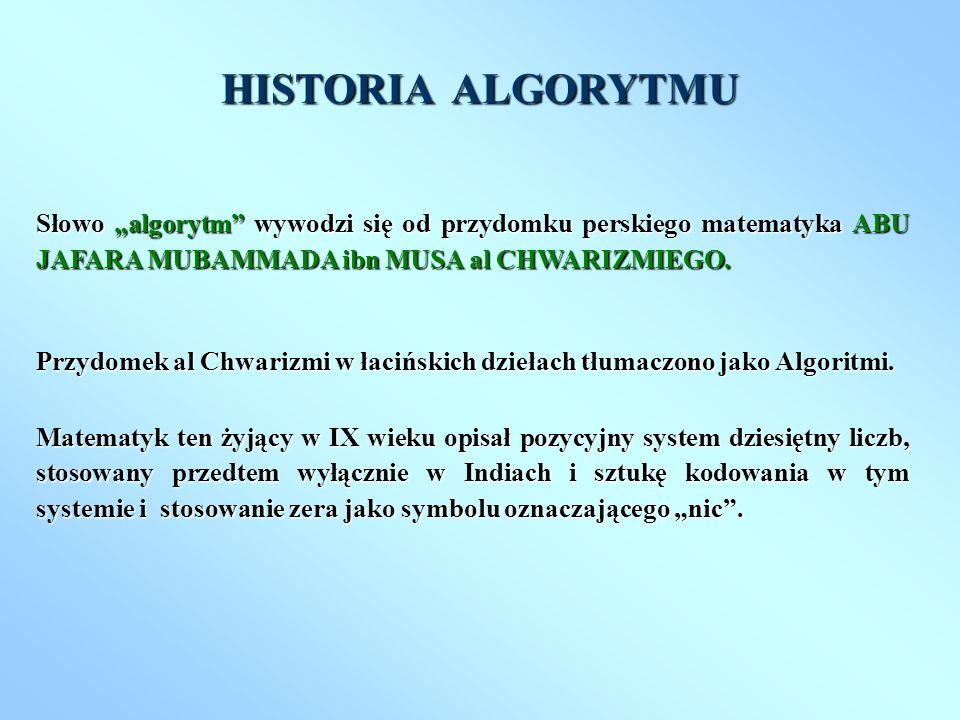 Słowo algorytm wywodzi się od przydomku perskiego matematyka ABU JAFARA MUBAMMADA ibn MUSA al CHWARIZMIEGO. Przydomek al Chwarizmi w łacińskich dzieła