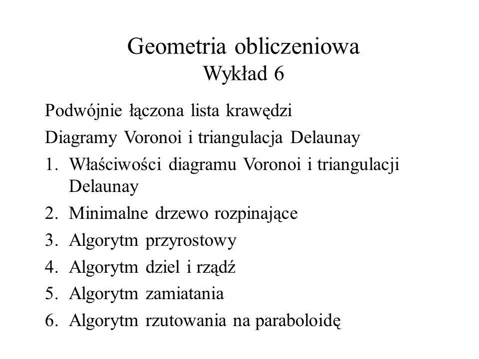 Geometria obliczeniowa Wykład 6 Podwójnie łączona lista krawędzi Diagramy Voronoi i triangulacja Delaunay 1.Właściwości diagramu Voronoi i triangulacji Delaunay 2.Minimalne drzewo rozpinające 3.Algorytm przyrostowy 4.Algorytm dziel i rządź 5.Algorytm zamiatania 6.Algorytm rzutowania na paraboloidę