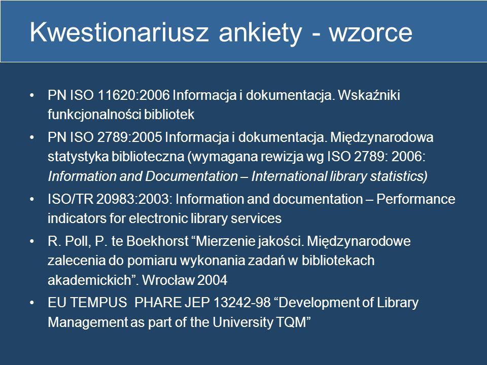 Kwestionariusz ankiety obejmuje wszystkie elementy biblioteki jako systemu: otoczenie, procesy i usługi biblioteczne podzielony na działy: Pracownicy Zbiory biblioteczne Budżet Infrastruktura Udostępnianie zbiorów Usługi informacyjne Dydaktyka, własne wydawnictwa i bazy danych Współpraca bibliotek, organizacja imprez bibliotecznych, aktywność zawodowa pracowników