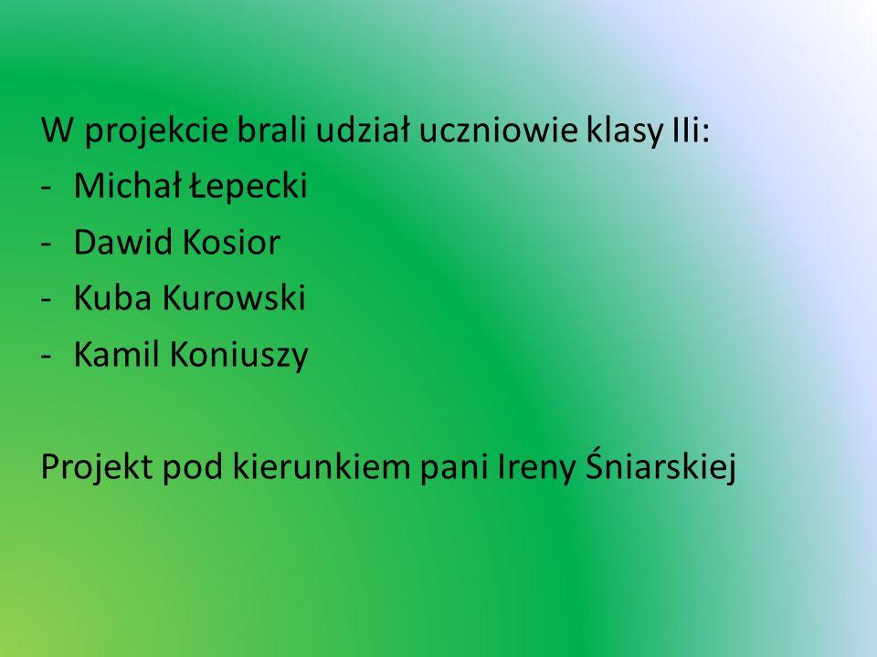 W projekcie brali udział uczniowie klasy IIi: -Michał Łepecki -Dawid Kosior -Kuba Kurowski -Kamil Koniuszy Projekt pod kierunkiem pani Ireny Śniarskie