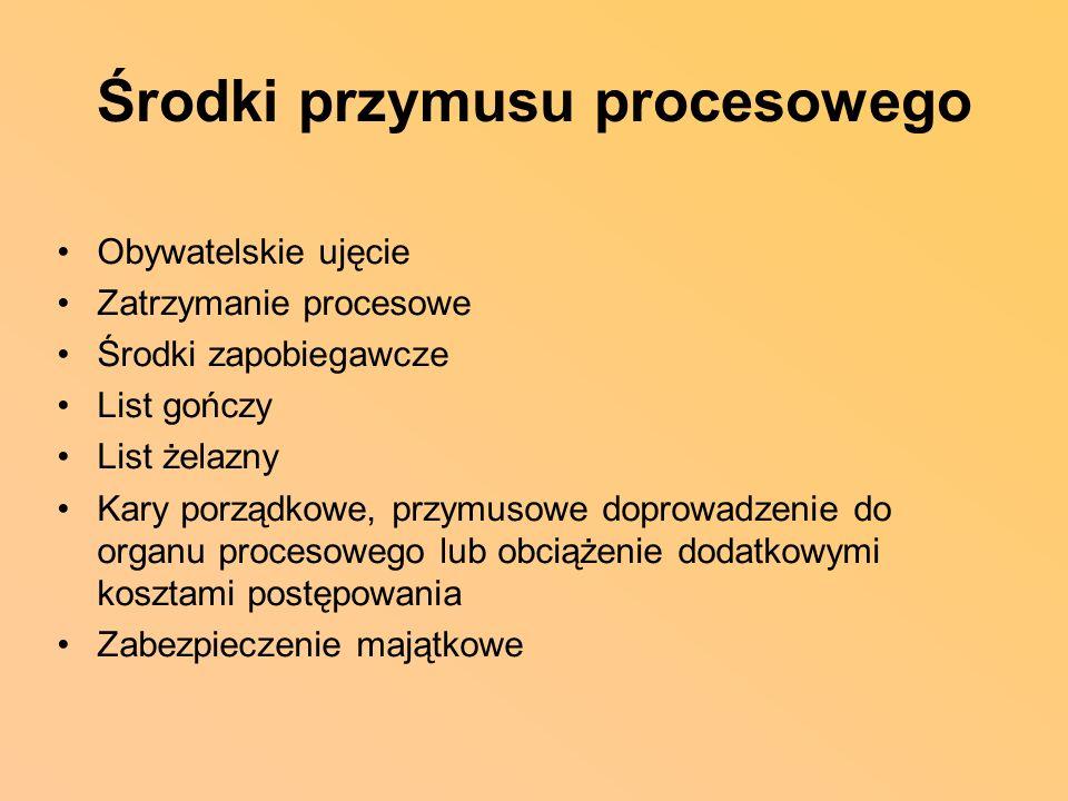 Środki przymusu procesowego Obywatelskie ujęcie Zatrzymanie procesowe Środki zapobiegawcze List gończy List żelazny Kary porządkowe, przymusowe doprow