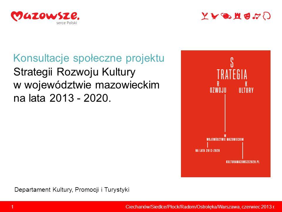 Konsultacje społeczne projektu Strategii Rozwoju Kultury w województwie mazowieckim na lata 2013 - 2020.
