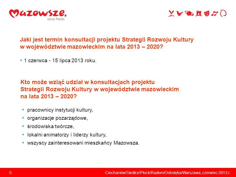 6Ciechanów/Siedlce/Płock/Radom/Ostrołęka/Warszawa, czerwiec 2013 r.