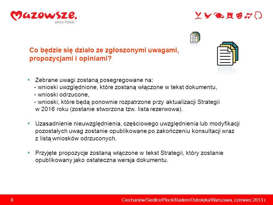 9Ciechanów/Siedlce/Płock/Radom/Ostrołęka/Warszawa, czerwiec 2013 r.