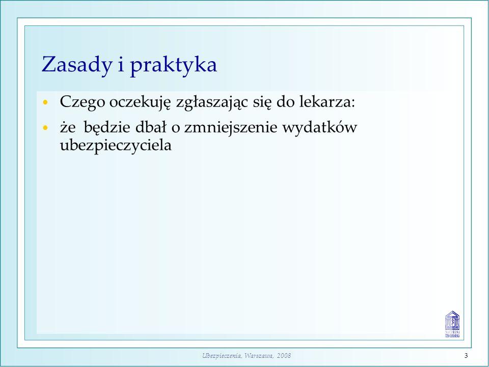 Ubezpieczenia, Warszawa, 20084 Zasady i praktyka Czego oczekuję zgłaszając się do lekarza: że będzie dbał o zmniejszenie wydatków ubezpieczyciela, że ograniczy zawartość świadczenia, ponieważ na pewno będzie musiał leczyć innych chorych w takiej samej sytuacji, jak ja