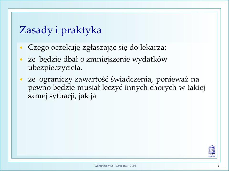 Ubezpieczenia, Warszawa, 20084 Zasady i praktyka Czego oczekuję zgłaszając się do lekarza: że będzie dbał o zmniejszenie wydatków ubezpieczyciela, że