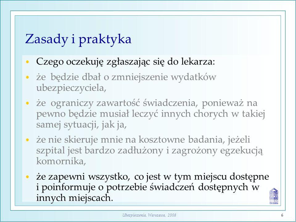 Ubezpieczenia, Warszawa, 20086 Zasady i praktyka Czego oczekuję zgłaszając się do lekarza: że będzie dbał o zmniejszenie wydatków ubezpieczyciela, że