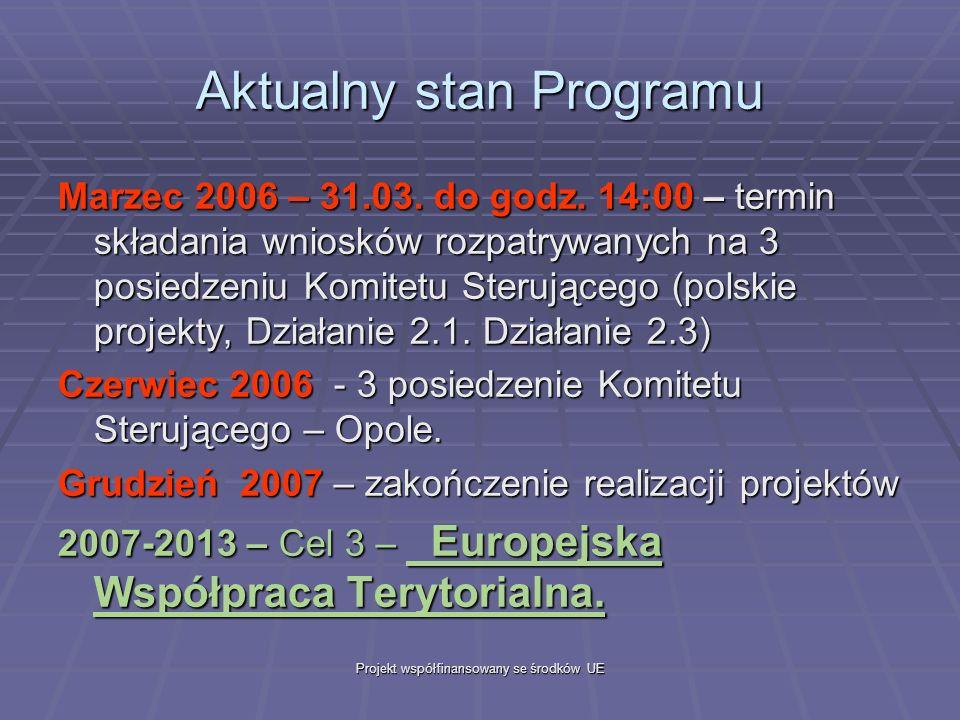 Projekt współfinansowany se środków UE Aktualny stan Programu Marzec 2006 – 31.03.