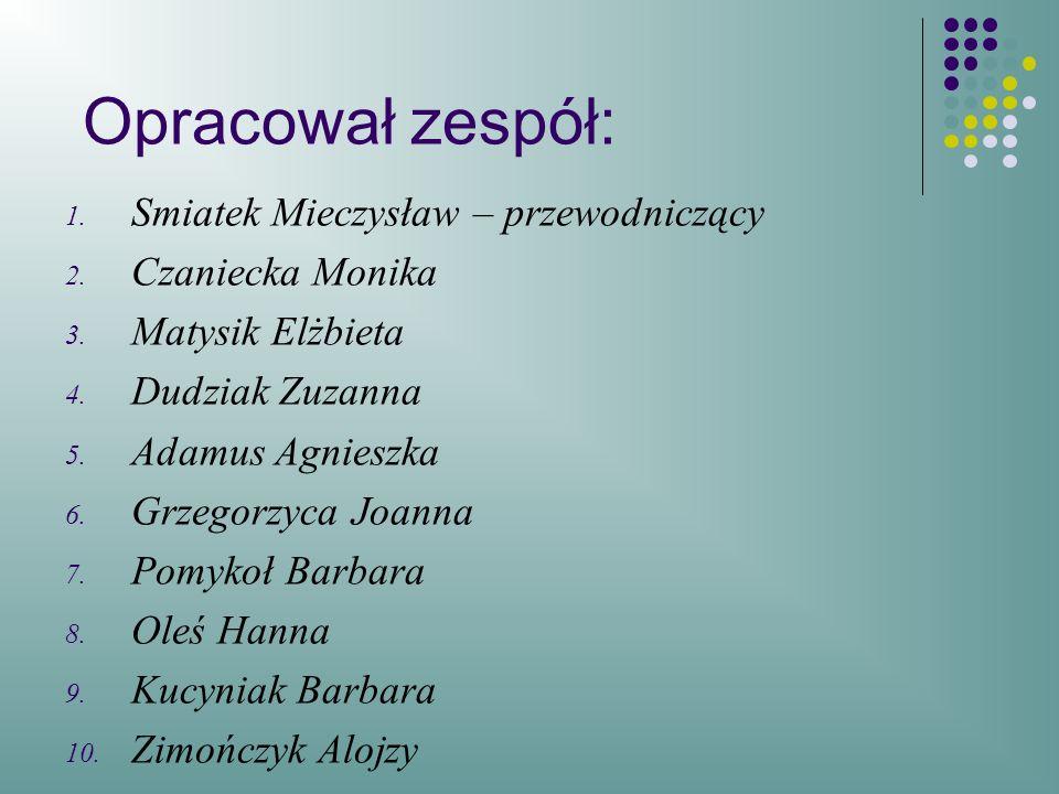 Opracował zespół: 1.Smiatek Mieczysław – przewodniczący 2.