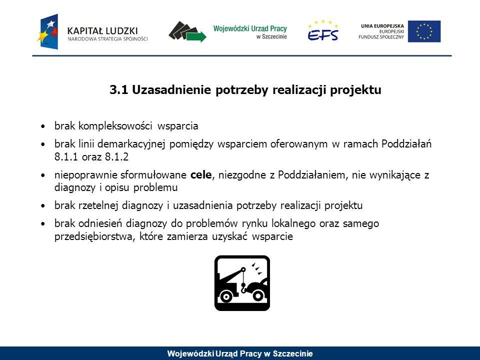 Wojewódzki Urząd Pracy w Szczecinie 3.1 Uzasadnienie potrzeby realizacji projektu brak kompleksowości wsparcia brak linii demarkacyjnej pomiędzy wsparciem oferowanym w ramach Poddziałań 8.1.1 oraz 8.1.2 niepoprawnie sformułowane cele, niezgodne z Poddziałaniem, nie wynikające z diagnozy i opisu problemu brak rzetelnej diagnozy i uzasadnienia potrzeby realizacji projektu brak odniesień diagnozy do problemów rynku lokalnego oraz samego przedsiębiorstwa, które zamierza uzyskać wsparcie