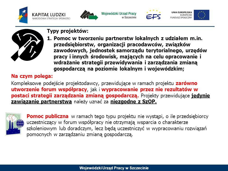Wojewódzki Urząd Pracy w Szczecinie Typy projektów: 1.Pomoc w tworzeniu partnerstw lokalnych z udziałem m.in. przedsiębiorstw, organizacji pracodawców