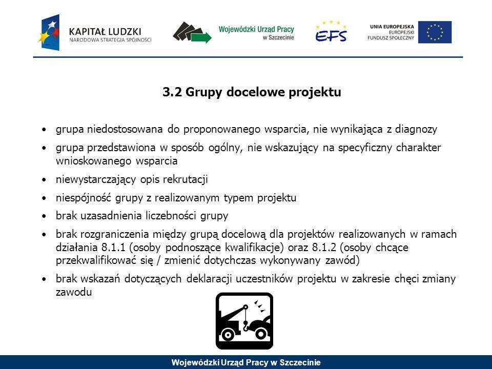 Wojewódzki Urząd Pracy w Szczecinie 3.2 Grupy docelowe projektu grupa niedostosowana do proponowanego wsparcia, nie wynikająca z diagnozy grupa przeds