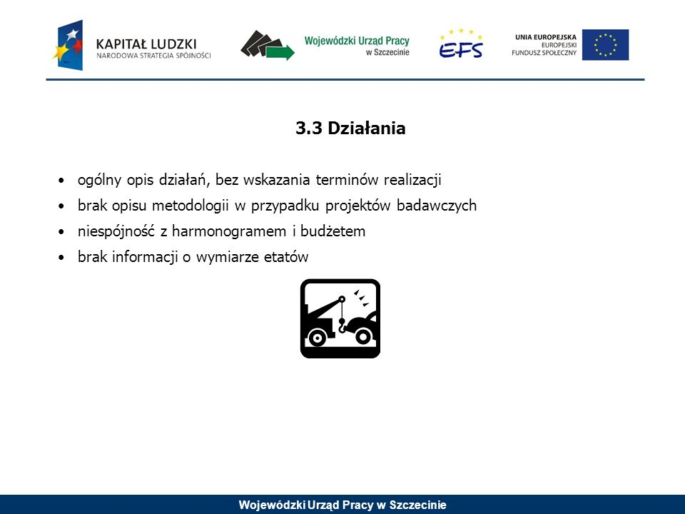 Wojewódzki Urząd Pracy w Szczecinie 3.3 Działania ogólny opis działań, bez wskazania terminów realizacji brak opisu metodologii w przypadku projektów badawczych niespójność z harmonogramem i budżetem brak informacji o wymiarze etatów