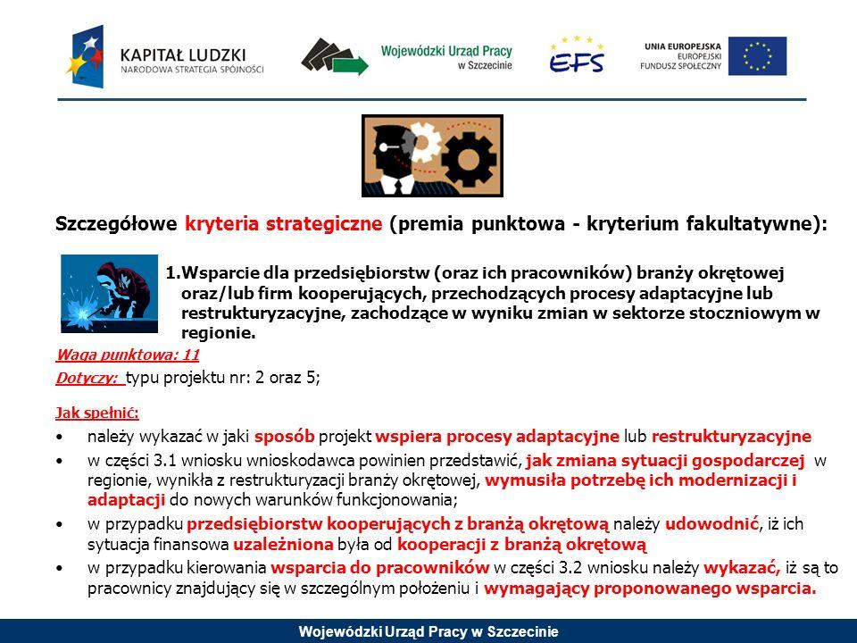 Wojewódzki Urząd Pracy w Szczecinie Szczegółowe kryteria strategiczne (premia punktowa - kryterium fakultatywne): 1.Wsparcie dla przedsiębiorstw (oraz