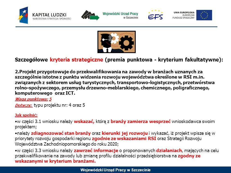 Wojewódzki Urząd Pracy w Szczecinie Szczegółowe kryteria strategiczne (premia punktowa - kryterium fakultatywne): 2.Projekt przygotowuje do przekwalifikowania na zawody w branżach uznanych za szczególnie istotne z punktu widzenia rozwoju województwa określone w RSI m.in.