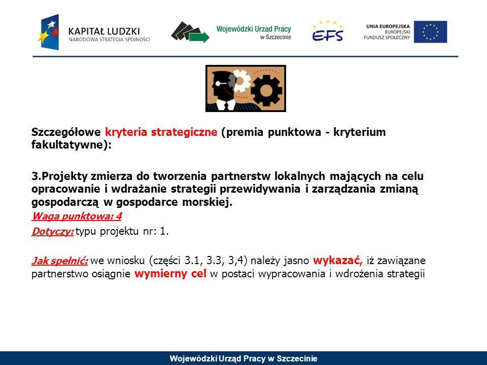 Wojewódzki Urząd Pracy w Szczecinie Szczegółowe kryteria strategiczne (premia punktowa - kryterium fakultatywne): 3.Projekty zmierza do tworzenia part