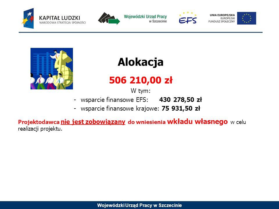 Wojewódzki Urząd Pracy w Szczecinie Alokacja 506 210,00 zł W tym: -wsparcie finansowe EFS: 430 278,50 zł -wsparcie finansowe krajowe: 75 931,50 zł Projektodawca nie jest zobowiązany do wniesienia wkładu własnego w celu realizacji projektu.