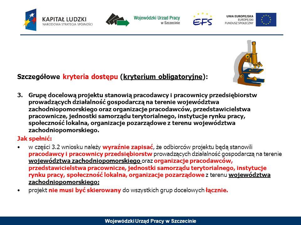 Wojewódzki Urząd Pracy w Szczecinie Szczegółowe kryteria dostępu (kryterium obligatoryjne): 3.Grupę docelową projektu stanowią pracodawcy i pracownicy przedsiębiorstw prowadzących działalność gospodarczą na terenie województwa zachodniopomorskiego oraz organizacje pracodawców, przedstawicielstwa pracownicze, jednostki samorządu terytorialnego, instytucje rynku pracy, społeczność lokalna, organizacje pozarządowe z terenu województwa zachodniopomorskiego.