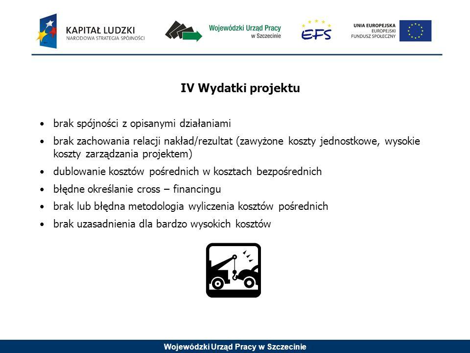 Wojewódzki Urząd Pracy w Szczecinie IV Wydatki projektu brak spójności z opisanymi działaniami brak zachowania relacji nakład/rezultat (zawyżone koszt