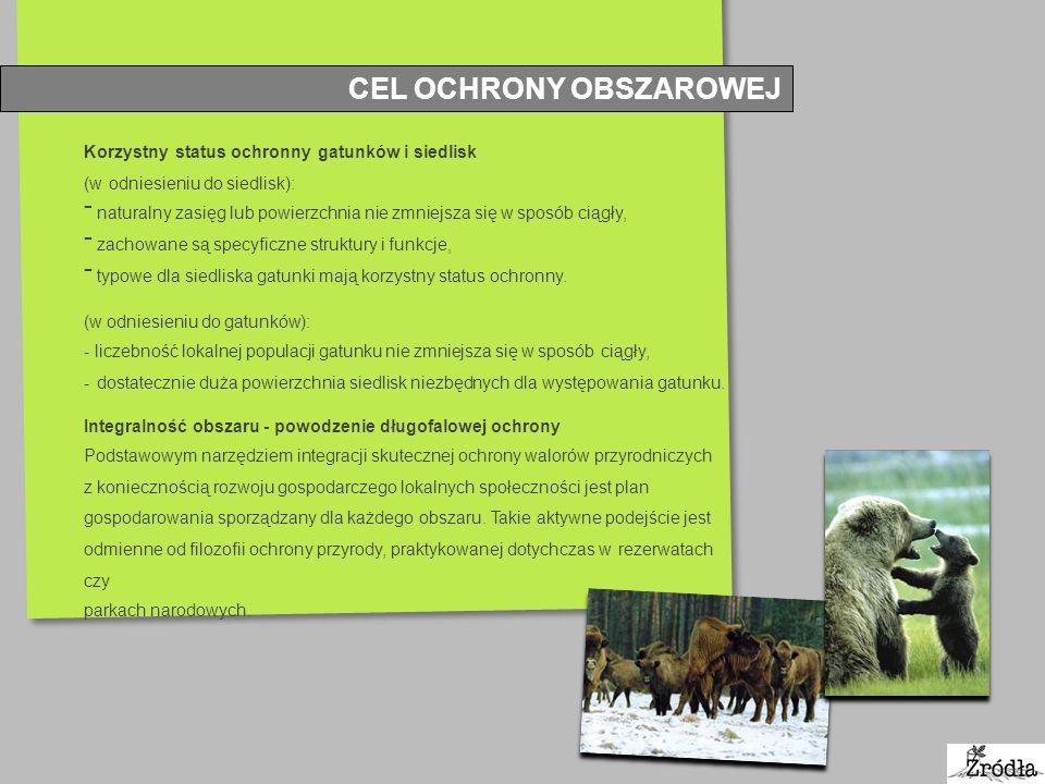 CEL OCHRONY OBSZAROWEJ Korzystny status ochronny gatunków i siedlisk (w odniesieniu do siedlisk): - naturalny zasięg lub powierzchnia nie zmniejsza si