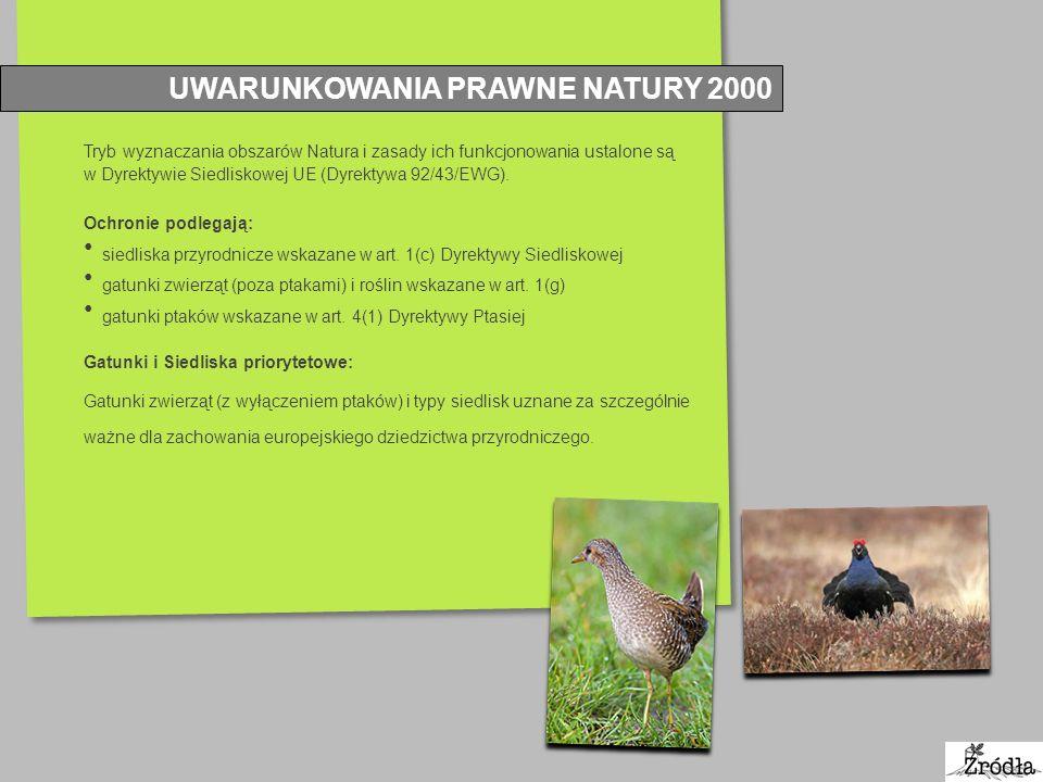 UWARUNKOWANIA PRAWNE NATURY 2000 Tryb wyznaczania obszarów Natura i zasady ich funkcjonowania ustalone są w Dyrektywie Siedliskowej UE (Dyrektywa 92/4
