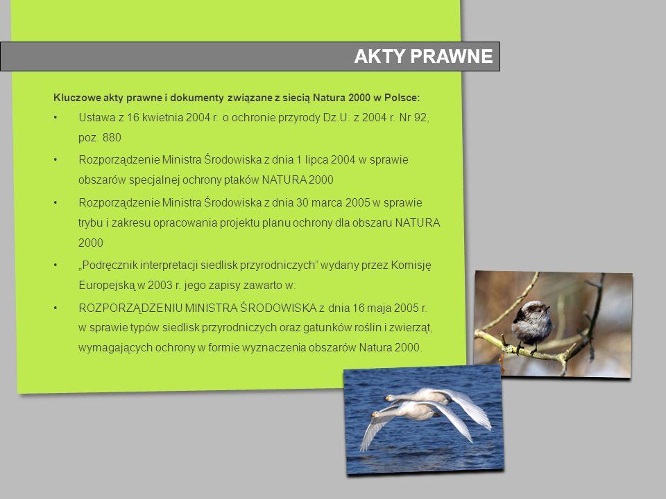 Kluczowe akty prawne i dokumenty związane z siecią Natura 2000 w Polsce: Ustawa z 16 kwietnia 2004 r. o ochronie przyrody Dz.U. z 2004 r. Nr 92, poz.