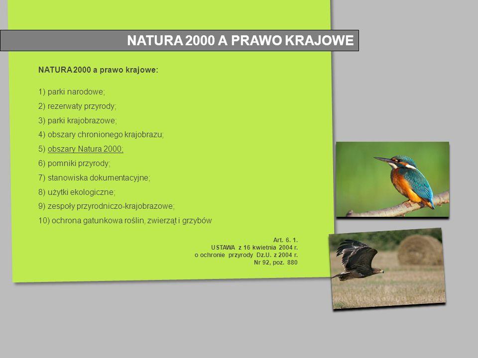 NATURA 2000 a prawo krajowe: 1) parki narodowe; 2) rezerwaty przyrody; 3) parki krajobrazowe; 4) obszary chronionego krajobrazu; 5) obszary Natura 200
