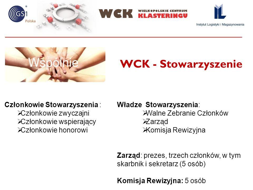 WCK - Stowarzyszenie Członkowie Stowarzyszenia : Członkowie zwyczajni Członkowie wspierający Członkowie honorowi Władze Stowarzyszenia: Walne Zebranie Członków Zarząd Komisja Rewizyjna Zarząd: prezes, trzech członków, w tym skarbnik i sekretarz (5 osób) Komisja Rewizyjna: 5 osób