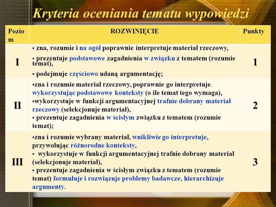 Kryteria oceniania tematu wypowiedzi Pozio m ROZWINIĘCIEPunkty I zna, rozumie i na ogół poprawnie interpretuje materiał rzeczowy, prezentuje podstawow