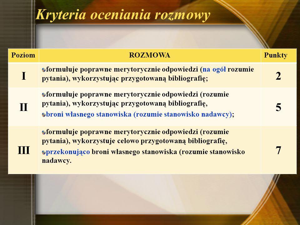 Kryteria oceniania rozmowy PoziomROZMOWAPunkty I formułuje poprawne merytorycznie odpowiedzi (na ogół rozumie pytania), wykorzystując przygotowaną bib