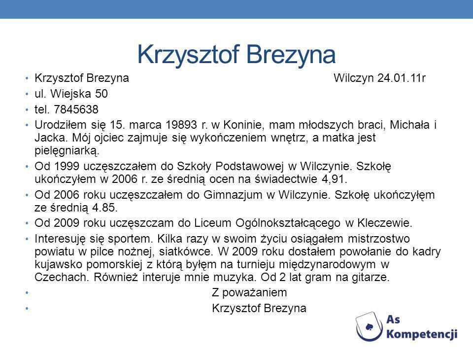 Krzysztof Brezyna Krzysztof Brezyna Wilczyn 24.01.11r ul.