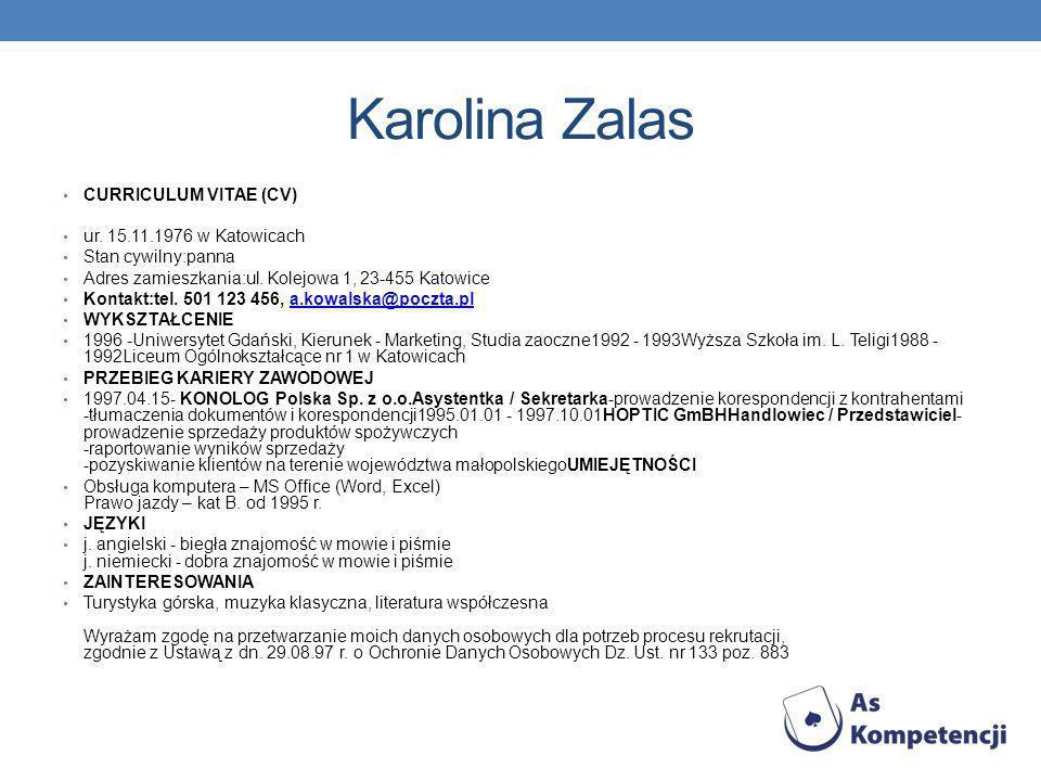 Karolina Zalas CURRICULUM VITAE (CV) ur.