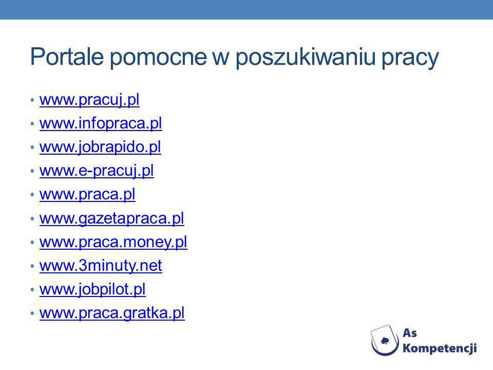 Portale pomocne w poszukiwaniu pracy www.pracuj.pl www.infopraca.pl www.jobrapido.pl www.e-pracuj.pl www.praca.pl www.gazetapraca.pl www.praca.money.pl www.3minuty.net www.jobpilot.pl www.praca.gratka.pl